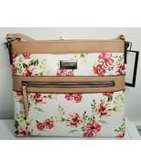 Nine West Floral Red Flowers White Beige Shoulder Purse Handbag Zip NEW - $32.99
