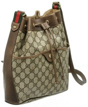 Gucci GG Logo Supreme Leather Vintage Brown Bucket Bag Certified Authentic - $495.00