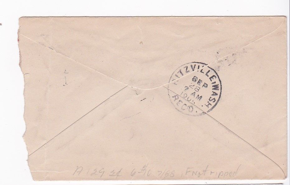 IRBY, WASH MAILED TO RITZEVILLE, WASH. SEPTEMBER 27 1905