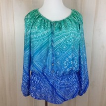 Ellen Tracy Boho Peplum Top Blouse Green Blue Print Keyhole Womens Size ... - $18.22