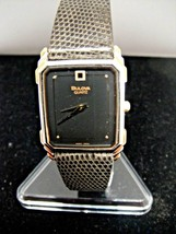 Mens Bulova Quartz Watch with Genuine Lizard Band Black on Black New Old... - $80.99