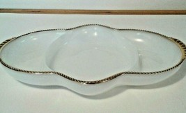 Fire King Divided Relish Dish With Gold Beaded Trim Vintage Borosilicate... - $8.60