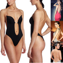 Women's Deep V Bodysuit Thong Convertible U Plunge Body Suit Bridal Shapewear - $14.77+