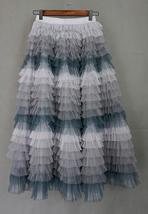 Hot Pink Purple Gray Purple Women Tier Tulle Skirts Mesh Skirt Full Midi Skirts image 4
