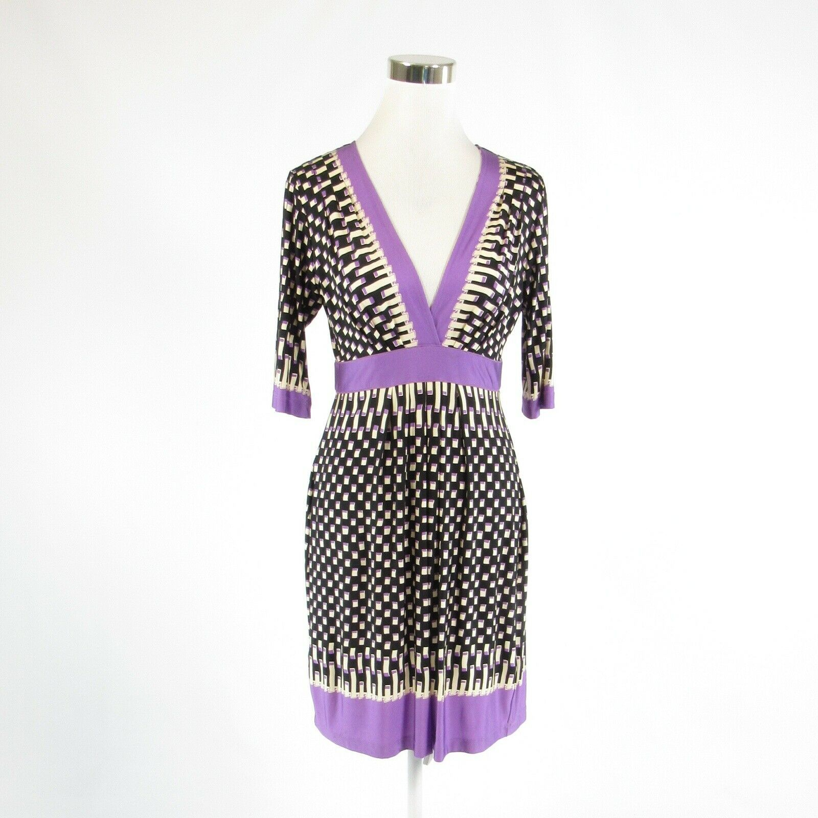 Black purple geometric BCBG MAX AZRIA stretch 1/2 sleeve empire waist dress M