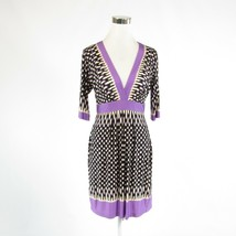 Black purple geometric BCBG MAX AZRIA stretch 1/2 sleeve empire waist dr... - $39.99