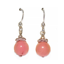 "3/4"" 8mm Pink Beryl Sterling Silver Drop Earrings - $16.99"