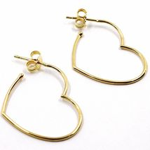 18K YELLOW GOLD PENDANT HEART EARRINGS, 1.1 INCHES LENGTH, MADE IN ITALY image 3