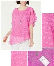 JM Collection Women's Asymmetrical Necklace Top Blouse. 100047246MS Pink M - $20.00