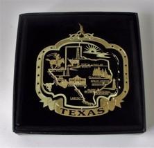 Texas State Landmarks Brass Ornament Black Leatherette Box - $13.95
