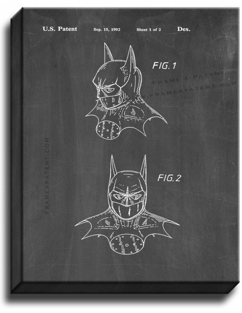 Primary image for Batman Head Dress Patent Print Chalkboard on Canvas