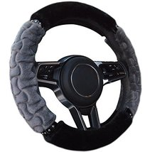 PANDA SUPERSTORE Luxury Design Leopard Steering Wheel Plush Cover, Gray image 3