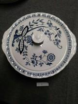 "Blue Heritage Wedgwood Blue Onion Covered Vegetable Bowl 9"" England EUC - $39.59"
