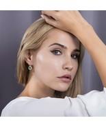 Green Stone Cubic Zircon Drop Earrings 585 Rose Gold Color for Women Gir... - $17.66