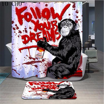 Funny Animal Monkey 51 Shower Curtain Waterproof Polyester Fabric & Bath Mat - $15.30+