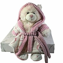 "Build a bear 15"" Plush White & Pink Teddy bear in bathrobe & bunny slipp... - $16.82"