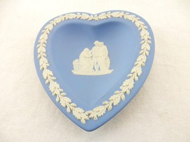 Trinket Dish, Pin Dish, Light Blue Wedgwood Jasper  Heart Shaped Dresser... - $8.77