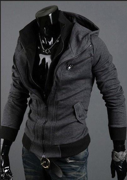 2018 Hot New Double Zipper Slim Fitting Casual Korean Fashion Men Thickening Hoo