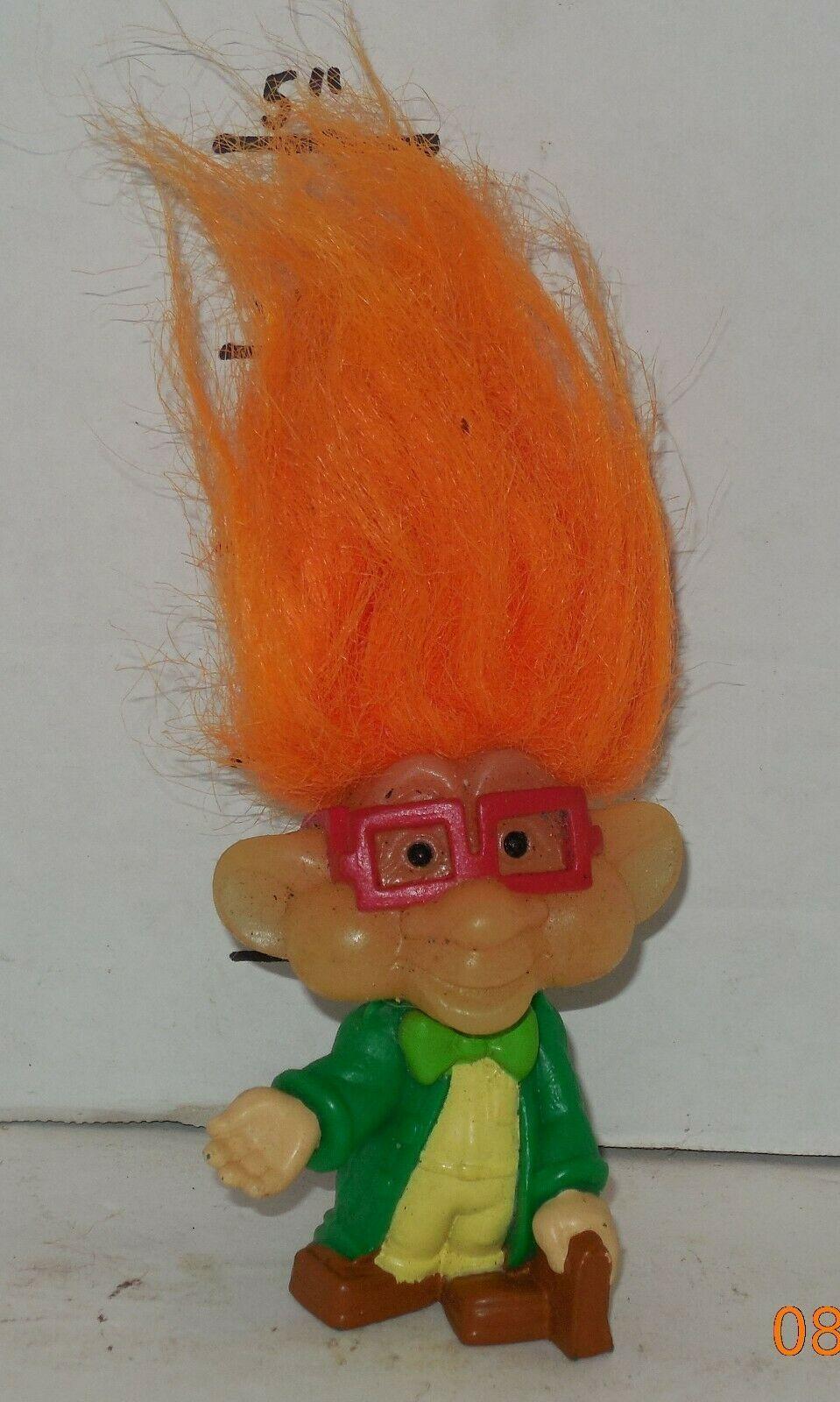 "Vintage My Lucky Russ Berrie Troll 4"" PVC Figure Orange Hair Green Jacket - $14.03"