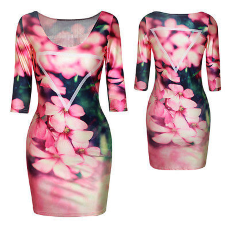 Women Sexy 3D Digital Print 3/4 Sleeve Bodycon Short Fitted Floral Dress M Party