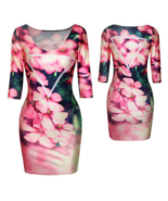 Women Sexy 3D Digital Print 3/4 Sleeve Bodycon Short Fitted Floral Dress... - $10.95