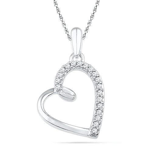 Primary image for 10kt White Gold Womens Round Diamond Heart Outline Pendant 1/10 Cttw