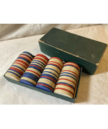 (100) Vintage Cardboard Poker Chips with Horseshoe Pattern Red, White & ... - $14.84