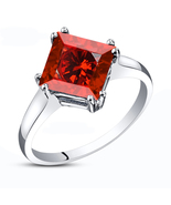 White Gold Plated 925 Silver Red Garnet Princess Cut Engagement Wedding ... - $60.27