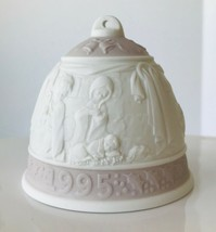 1995 Lladro Christmas Bell Ornament Lavender Holy Family Angels Porcelai... - $12.59