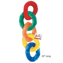 "Plush Chain Dog Toy 23"" Long Brightly Colored Squeak Toys Soft Rings For... - £11.32 GBP"