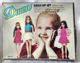 1970 Dawn Dress-Up Set Colorforms Toy Game Box Glori Angie Doll Girls VTG - $32.73