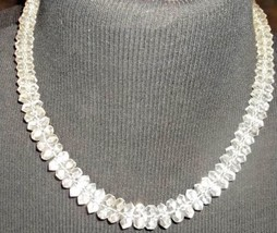 Mid Century Czech Deco Faceted Cut Crystal Beaded Necklace Silver Clasp VTG - $145.00