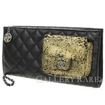 CHANEL Matelasse Lambskin Black Clutch Bag Pouch CC France Authentic 408... - $1,910.00