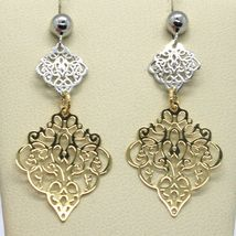 18K YELLOW WHITE GOLD PENDANT EARRINGS, DOUBLE WORKED RHOMBUS, MADE IN ITALY image 4