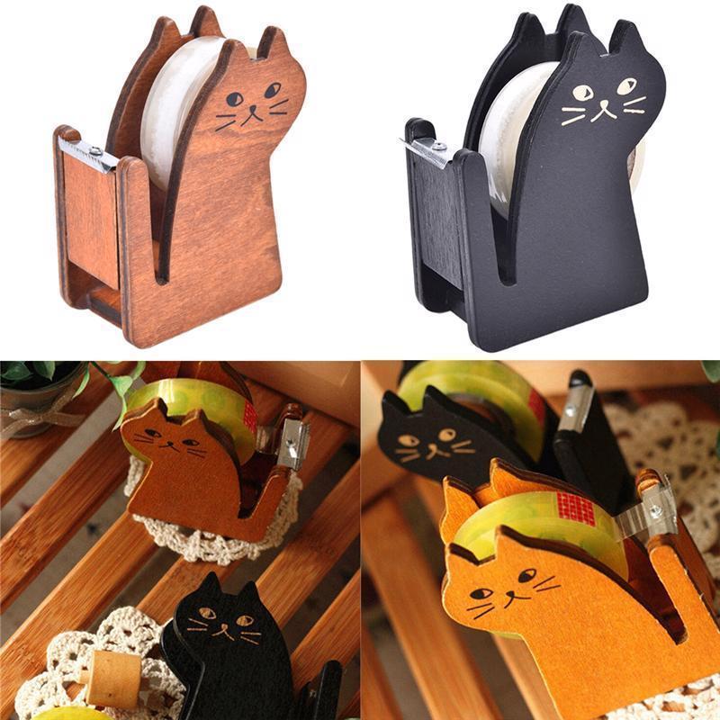 Wooden Tape Dispenser Cutter Cat Roll Holder Mini Washi Storage Wrap Cutting