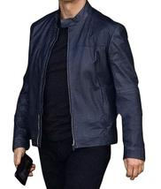 Mens Ethan Hunt Mission Impossible Fallout Tom Cruise Blue Biker Leather Jacket image 3