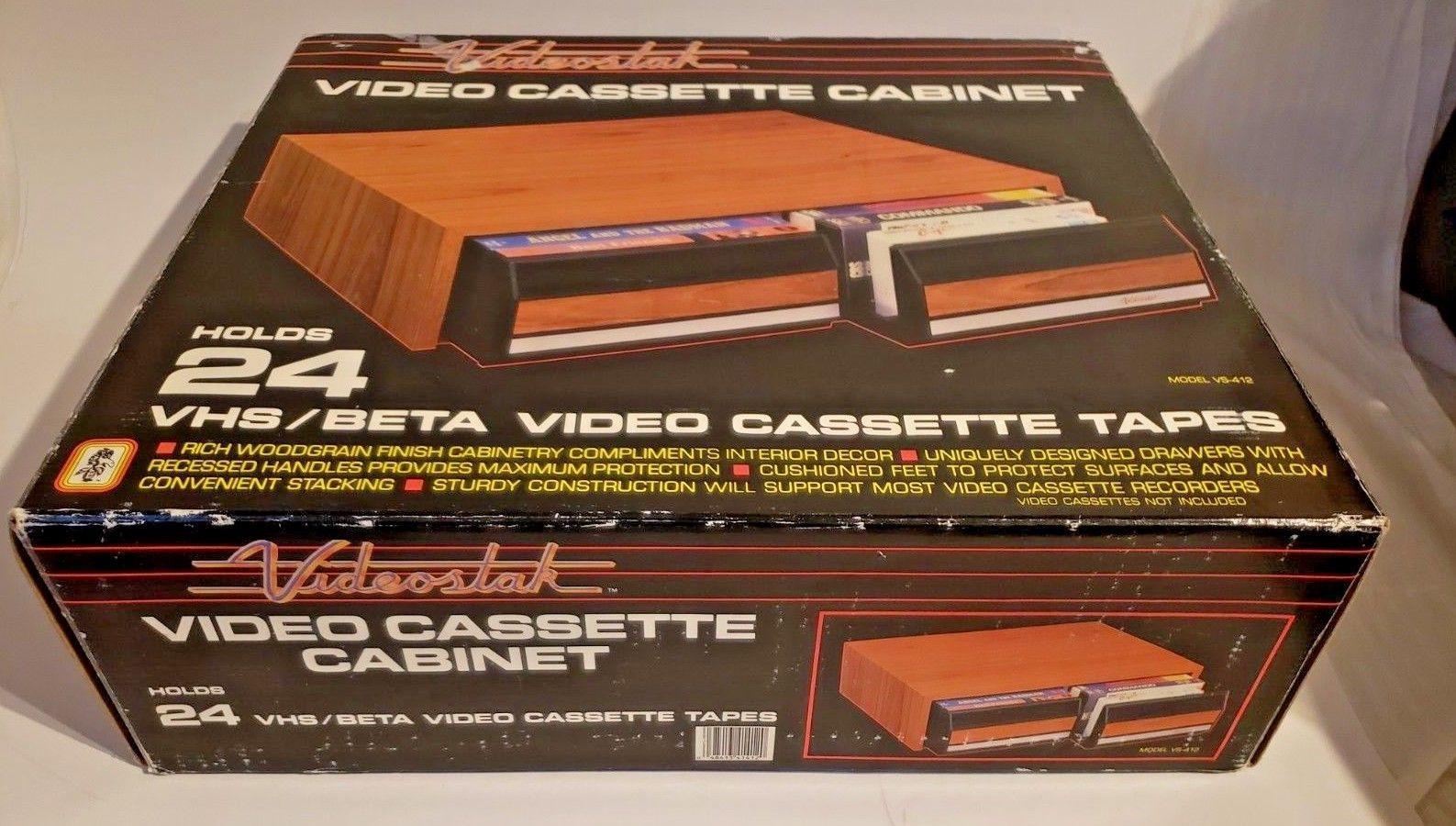 Vintage Videostak Video Cassette Cabinet Holds 24 VHS Tapes..In Original Box image 2