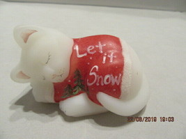 "FENTON ART GLASS 2003 KITTEN (CAT) SLEEPING CUDDLES ""LET IT KNOW"" FIGURINE - $34.99"