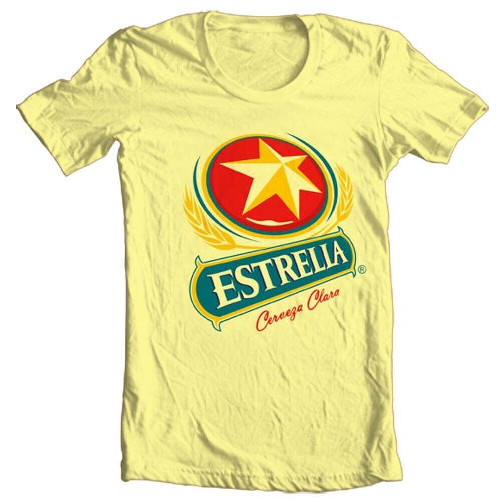 Estrella Cervesa T shirt Mexican beer beach 100% cotton graphic yellow tee