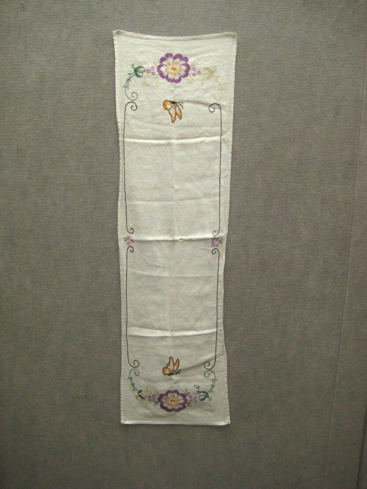 Tea Towel 38 In Kitchen Bathroom Crewel Embroidery Hand Stitch Floral Butterfly image 5