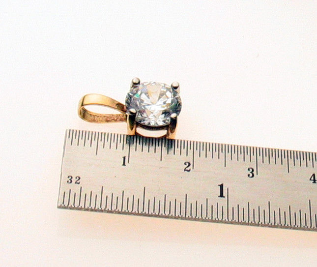 9 Carat Gold Pendant Set 9 mm Round CZ