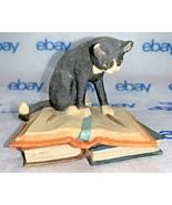 """Border Fine Arts Black Cat Sitting on Books 3"""" Tall 1984 - $49.48"""