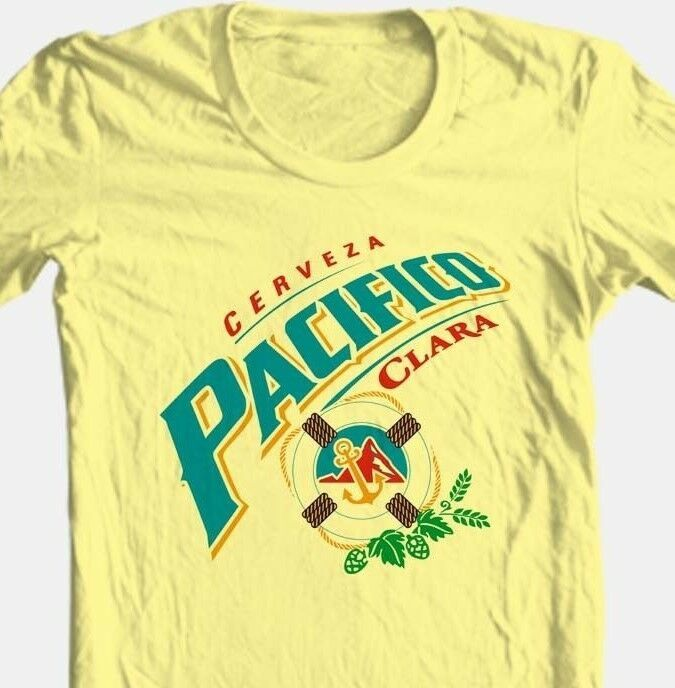 Pacifico Cerveza T-shirt beer bar mexico cotton graphic printed yellow white tee