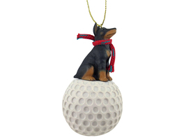 Doberman Pinscher Black w/Cropped Ears golf Ornament - $17.99