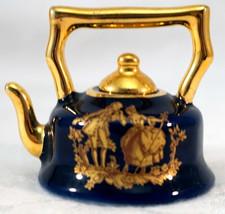 Limoges Miniature Porcelain Cobalt Blue Gold Victorian Couple Teapot & L... - $25.99