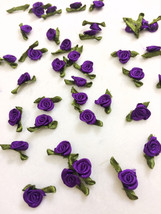 Purple Tiny Rose Buds with Leaf,Rose Applique,Mini Satin Rose,Craft Flow... - $7.50