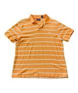 CHAPS RALPH LAUREN Mens Logo Polo Shirt Orange White Stripe Size XL - $13.37