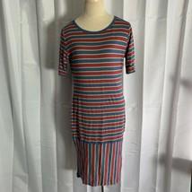 LuLaRoe LLR Julia Dress Fitted Red Blue Yellow Striped Size Medium - $24.72