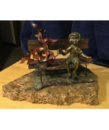 Boy Feeding Birds Bronze Copper Sculpture On Stone Base - $56.09