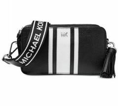 Michael Kors Logo Pebble Leather Camera White/Black/Silver Bag BNIB W TAGS - $194.03